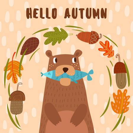 Plantilla de diseño de Cute Bear with Fish in the Mouth and Nuts Instagram