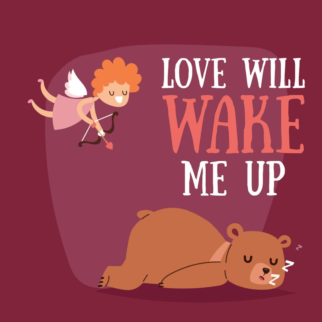 Valentine's Day Cupid shooting arrow in sleeping Bear - Bir Tasarım Oluşturun