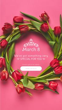 8 March Greeting Rotating Wreath of Tulips | Vertical Video Template