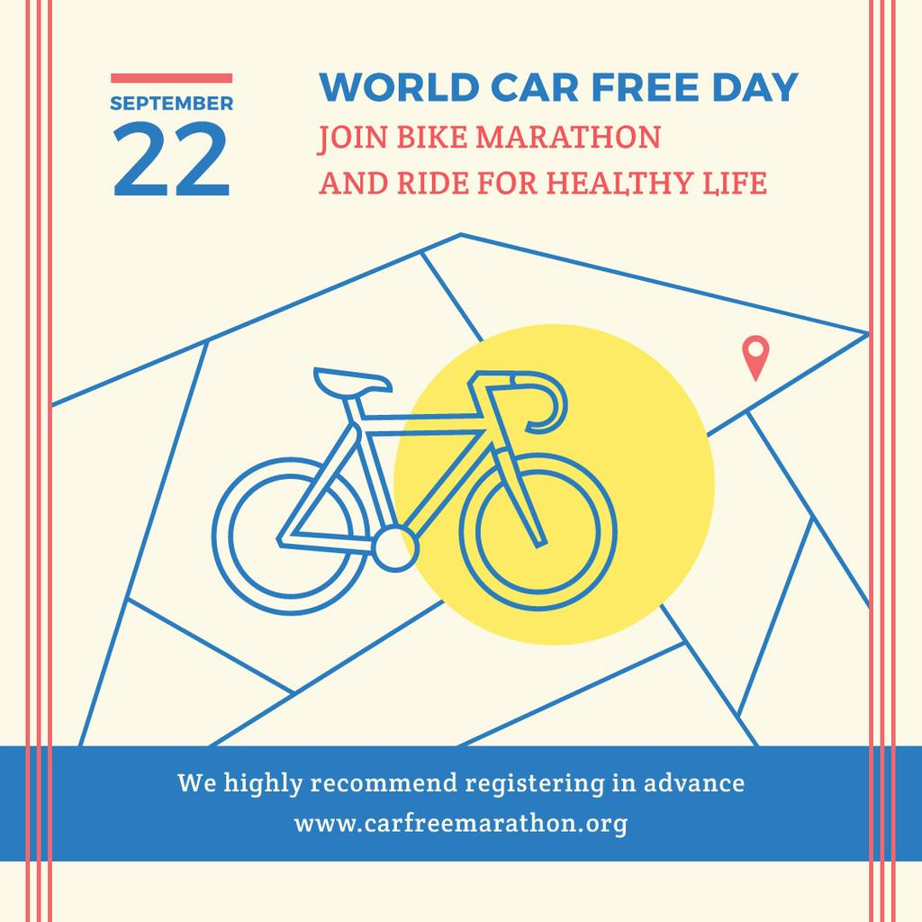 World car free day poster with bicycle — ein Design erstellen