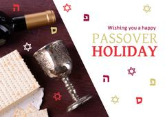 Happy Passover Holiday Greeting with Wine and Bread
