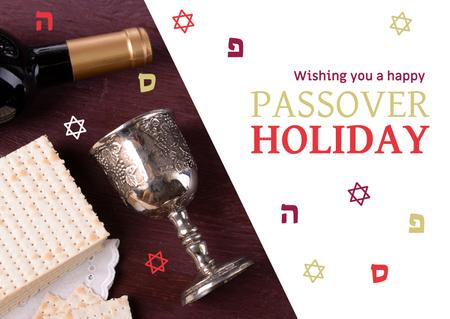 Happy Passover Holiday Greeting with Wine and Bread Postcard Design Template