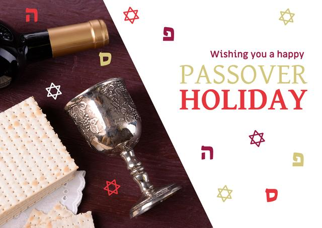 Modèle de visuel Happy Passover Holiday Greeting with Wine and Bread - Postcard