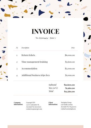 Ontwerpsjabloon van Invoice van Business Trip Bill on Colourful Pattern