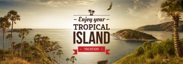 tropical island vacation poster
