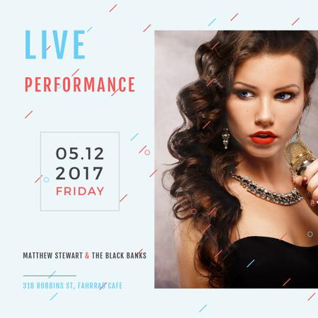 Live Performance Announcement Gorgeous Female Singer Instagram AD Modelo de Design