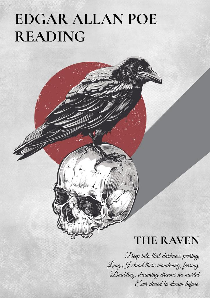 Artistic Poster with Raven Sitting on Skull — Crear un diseño