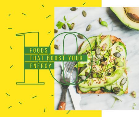 Toast with raw Avocado and seeds Facebook – шаблон для дизайна