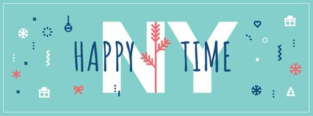 Plantilla de diseño de Happy New Year Greeting Facebook cover