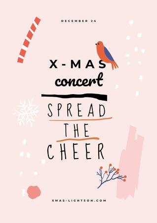 Christmas Concert announcement with Bird Posterデザインテンプレート