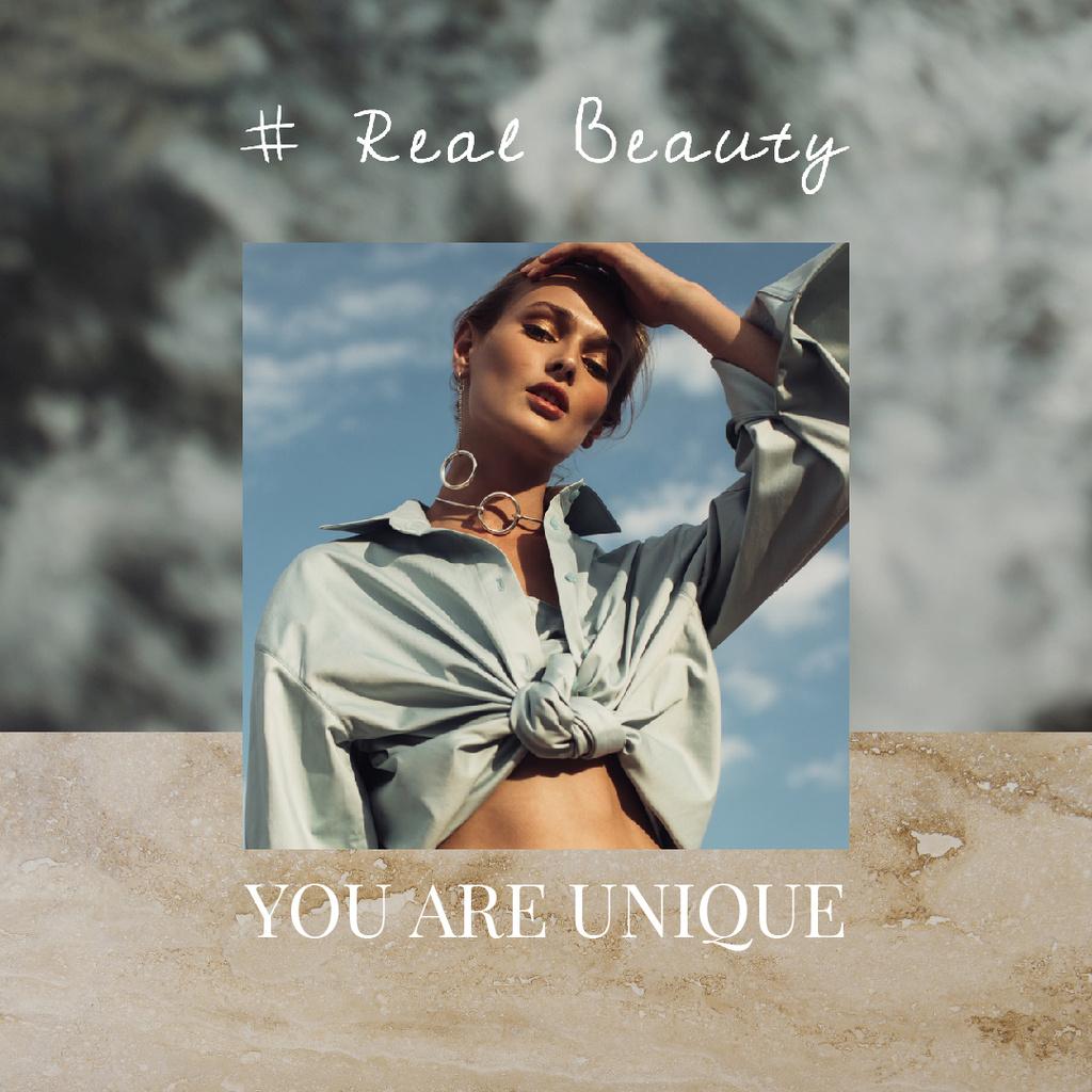 Beauty Inspiration Attractive Young Woman — Maak een ontwerp