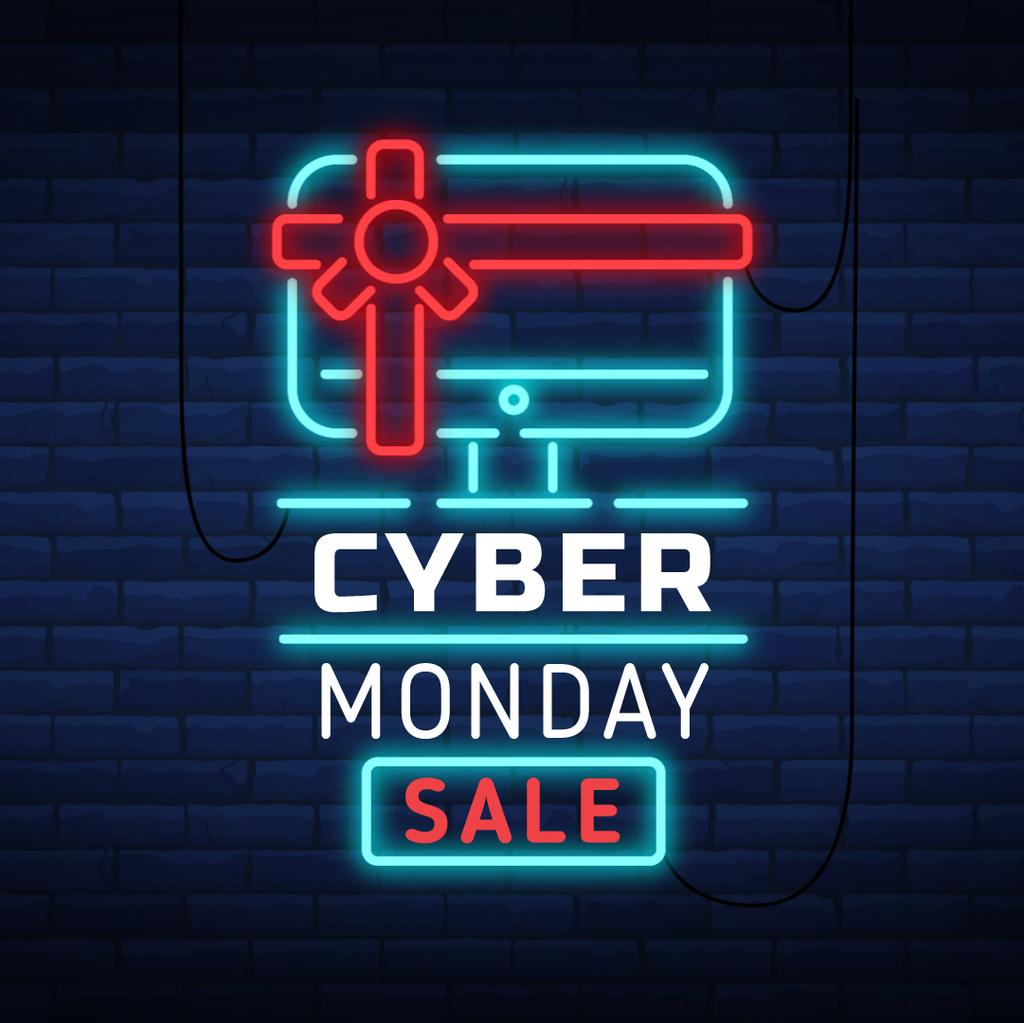 Cyber Monday with Neon sign with gifted computer — Створити дизайн