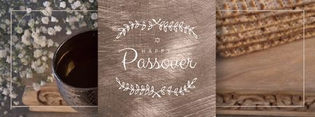Modèle de visuel Happy Passover Table with Unleavened Bread - Facebook Video cover