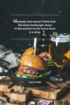 delicious hamburger with quotation