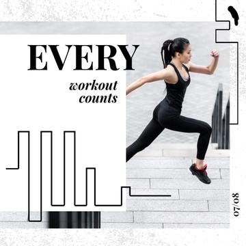 Workout Inspiration Girl Running in City | Square Video Template