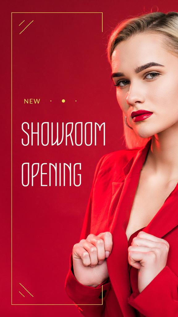 Stylish Woman in Red Outfit — Modelo de projeto