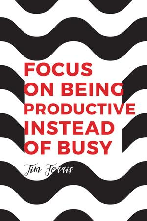 Productivity Quote on Waves in Black and White Tumblr Modelo de Design