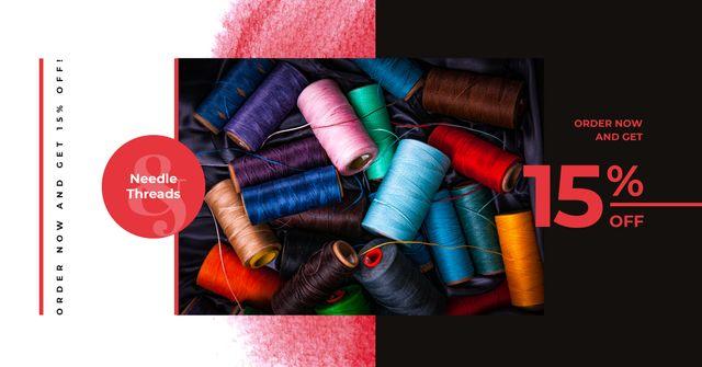 Craft Shop Sale Colorful Thread Bobbins Facebook AD Design Template
