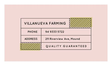 Minimalistic Lines Frame in Pink Business card Modelo de Design