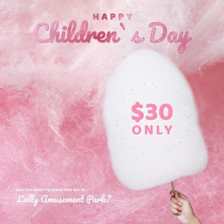 Children's day with Child holding cotton Candy Animated Post Modelo de Design