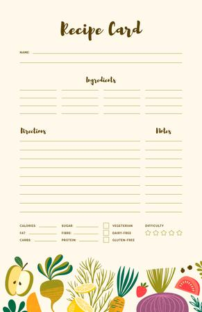 Ontwerpsjabloon van Recipe Card van Vegetables and Fruits illustrations