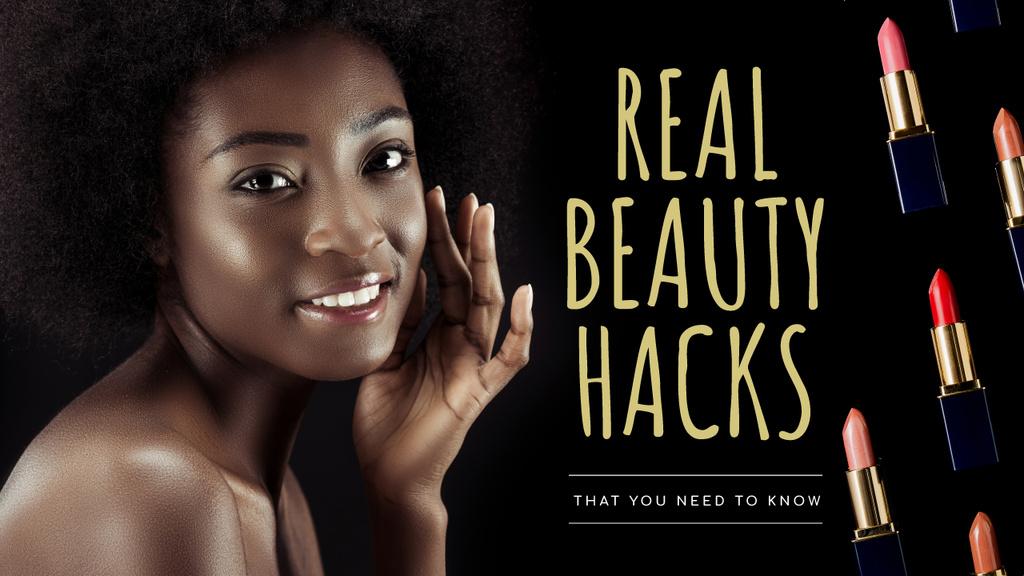 Beauty Hacks Smiling Woman with Lipsticks — ein Design erstellen