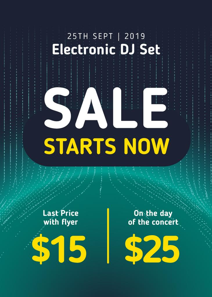 Electronic DJ Set Tickets Offer in Blue Flayerデザインテンプレート
