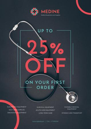 Plantilla de diseño de Clinic Promotion with Medical Stethoscope on Table Poster