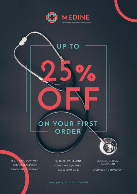Ontwerpsjabloon van Poster van Clinic Promotion with Medical Stethoscope on Table