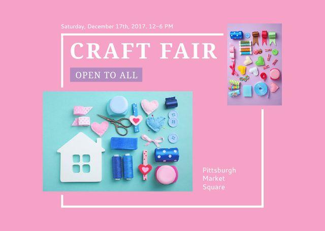 Ontwerpsjabloon van Postcard van Craft Fair with needlework tools