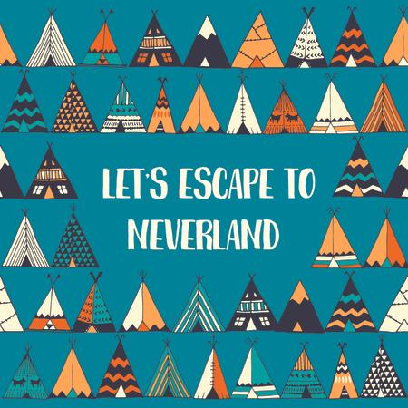Plantilla de diseño de Escape to Neverland illustration Instagram