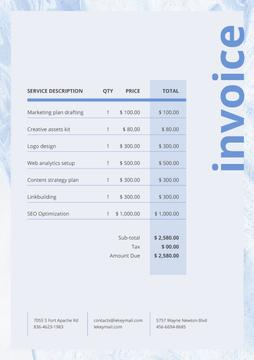 Marketing Services Invoice on Blue Texture