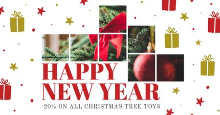 Happy New Year Bright Greeting Facebook AD Modelo de Design