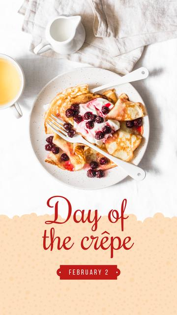 Baked crepes with berries on Day of Crepe Instagram Story Design Template
