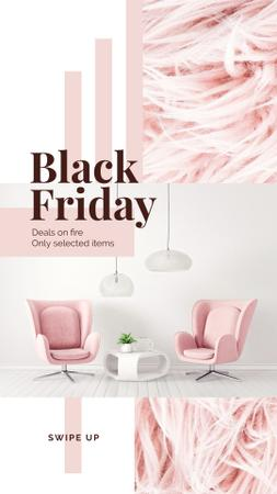 Plantilla de diseño de Black Friday Deal Cozy Interior in Pink Color Instagram Story