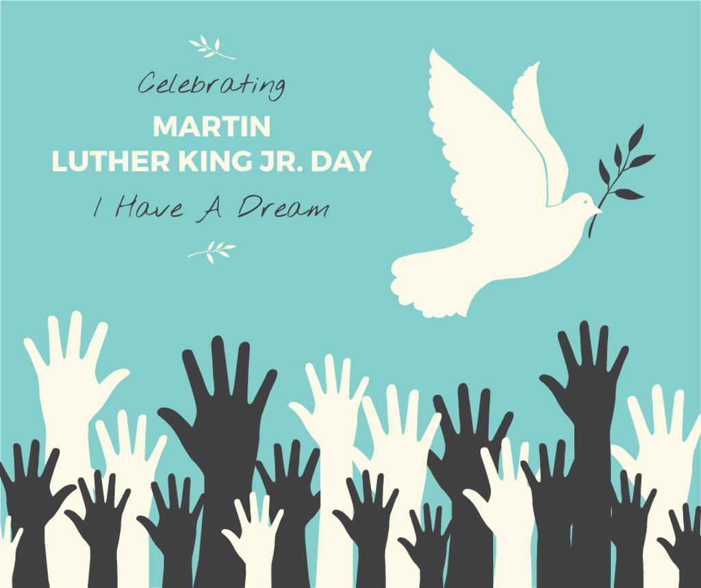 Martin Luther King greeting with dove — Create a Design