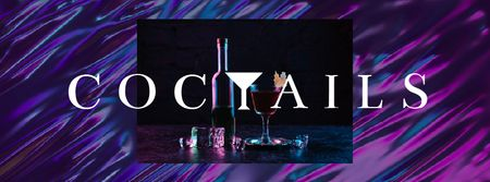 Modèle de visuel Bar Ad Cocktail Drink on Counter - Facebook Video cover