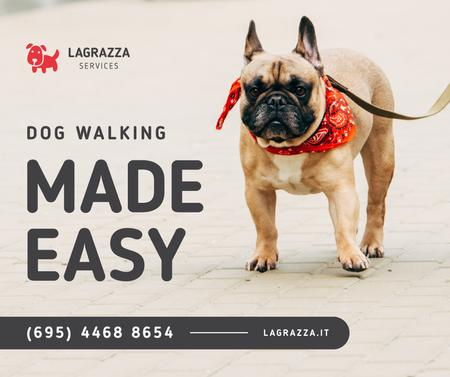 Ontwerpsjabloon van Facebook van Dog Walking Services French Bulldog on street