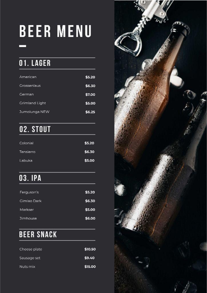 Plantilla de diseño de Beer Bottles variety Menu