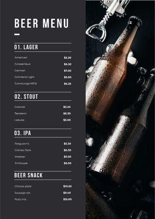 Beer Bottles variety Menu – шаблон для дизайну