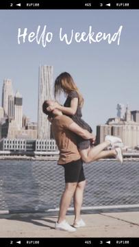 Lovers in front of city view