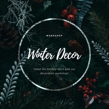 Christmas Decoration Wreath with Cones and Berries | Square Video Template