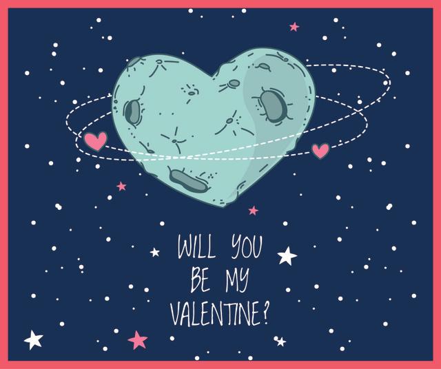 Modèle de visuel Valentine's Day Heart Planet in Space - Facebook