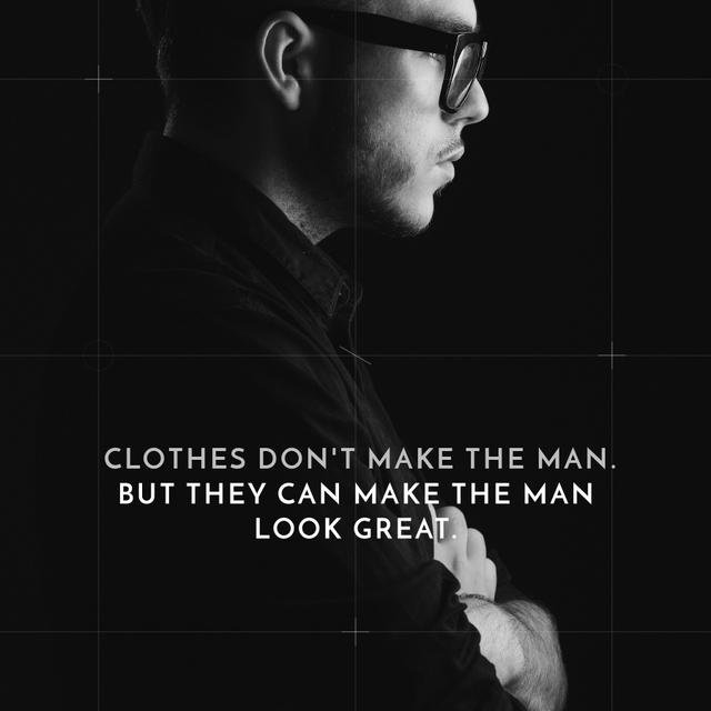 Businessman Wearing Suit in Black and White Instagram AD Design Template