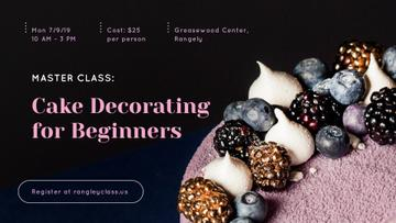 Confectionery Workshop Ad Cake with Raw Berries | Facebook Event Cover Template