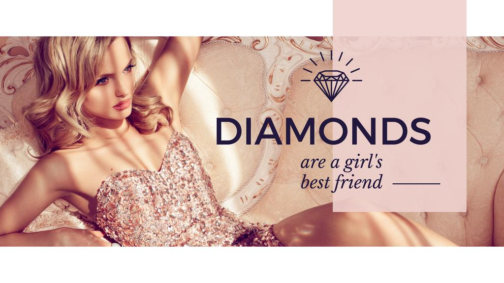 young woman with text diamonds are girl's best friend — Создать дизайн