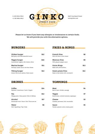 Plantilla de diseño de Street Food dishes Menu