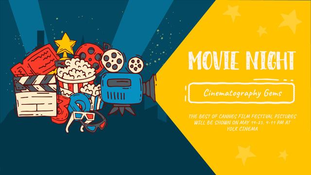 Plantilla de diseño de Movie Night invitation Cinema attributes Full HD video