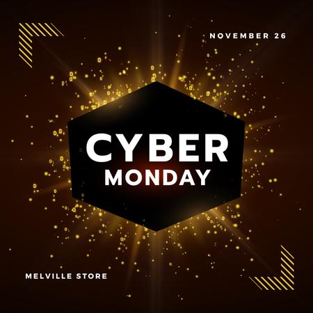 Cyber Monday with Burst of yellow light Animated Post Tasarım Şablonu