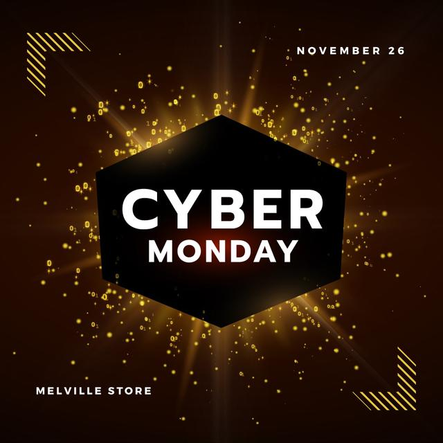 Template di design Cyber Monday with Burst of yellow light Animated Post